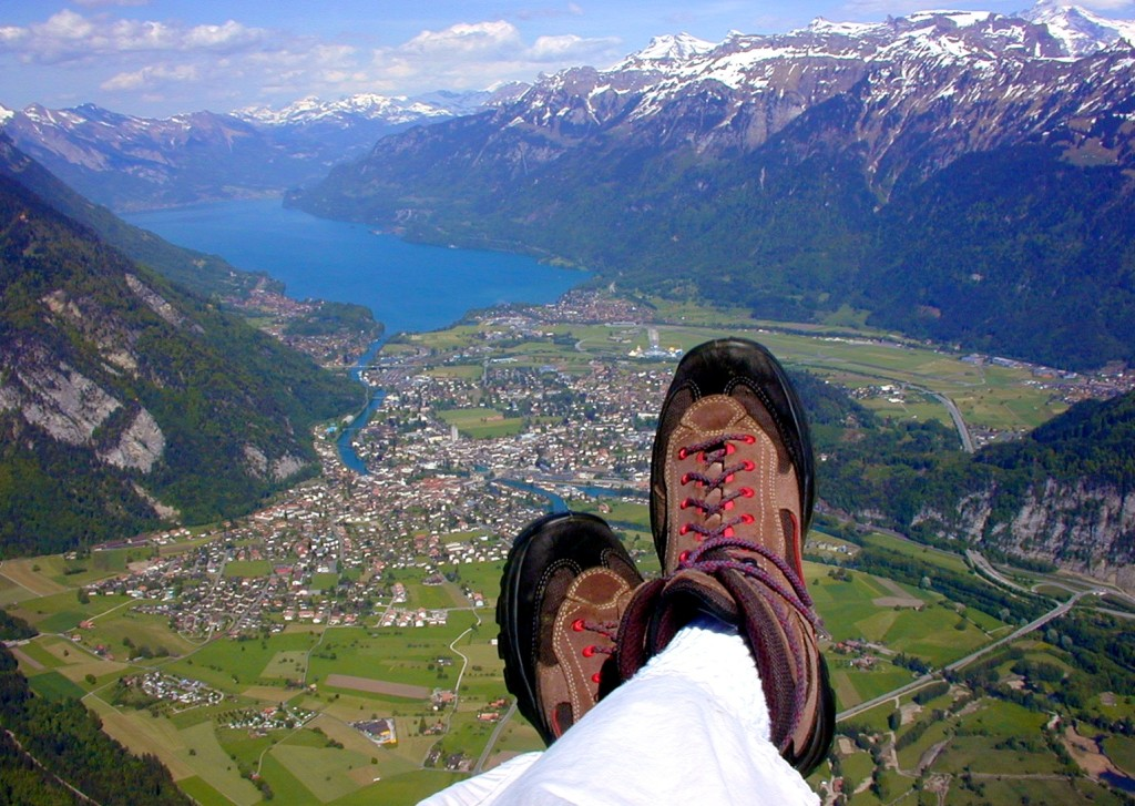 Paragliding over Interlaken, Switzerland.