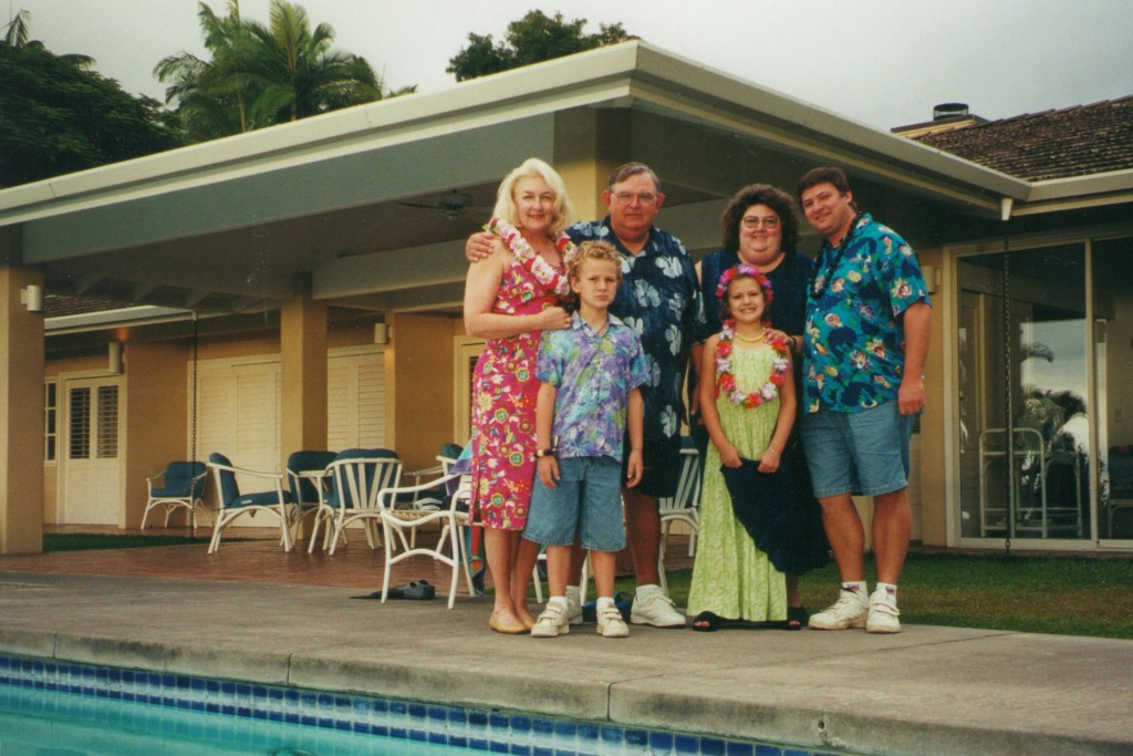 My Mom, Dad, and Kim with my nephew, Chris, my niece, Kristin, and my brother-in-law Steve, in Hawaii, Christmas 2000.