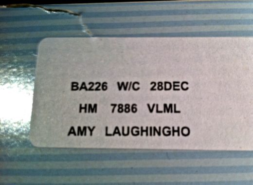 "My specially-labeled meal on BA. We'll assume ""Laughingho"" was just a typo."