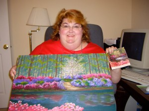 Kim with one of her last paintings. She could capture the beauty of a place even if she hadn't been there.