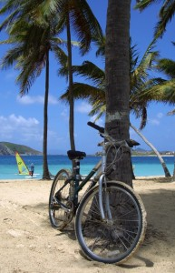 A bicycle stands at the ready for guests to explore the island.