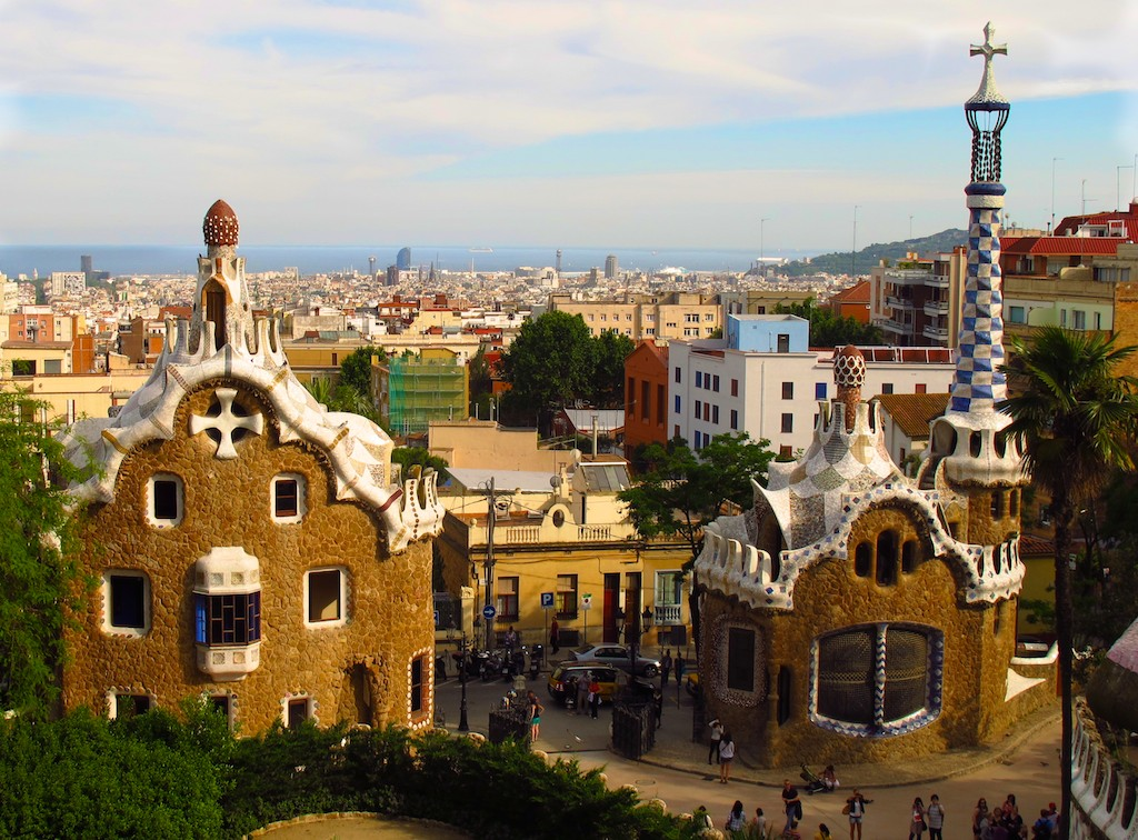 Gaudi's Parc Guell offers views over Barcelona's skyline