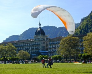 Back on terra firma in front of the Victoria-Jungfrau Grand Hotel and Spa.