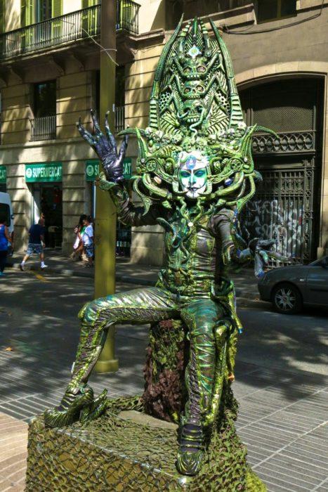 Las Ramblas street performer in Barcelona