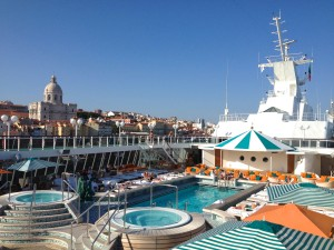 You never know what you might see on the Crystal Serenity's Lido Deck--from Barbie in a fringed bikini to Lisbon's stunning skyline.