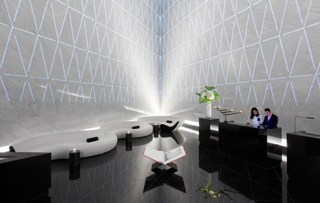 Pyramid-shaped reception area