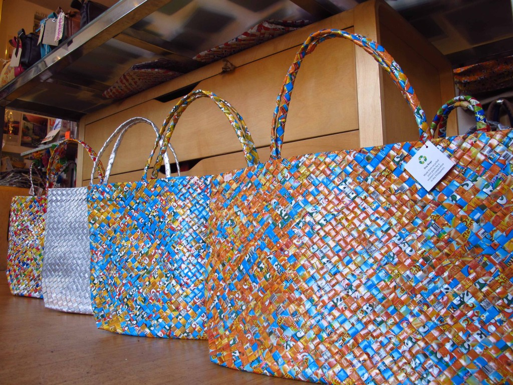 Bags woven from juice boxes