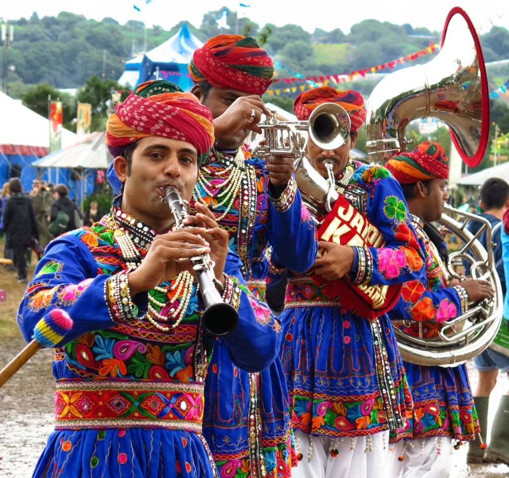 """Dude, can you play 'Freebird?'"" The fabulous Jaipur Kawa Brass Band, all the way from India. Rock on!"