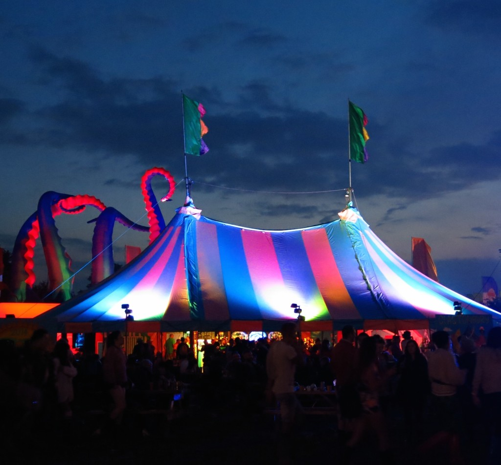 Rainbow tent at night