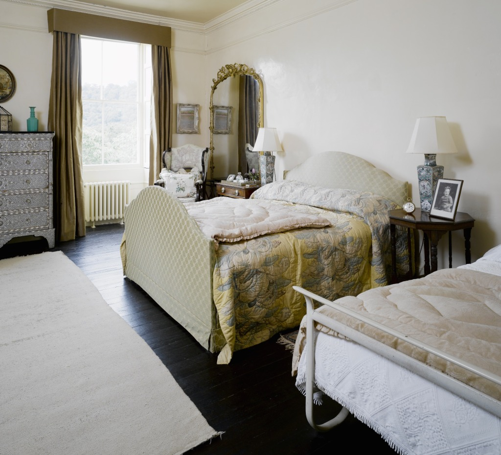 Agatha Christie's Bedroom at Greenway, Devon, which was the holiday home of the crime writer Agatha Christie. The larger bed with upholstered head and footboards is a recreation of Agatha's bed. ©NationalTrust