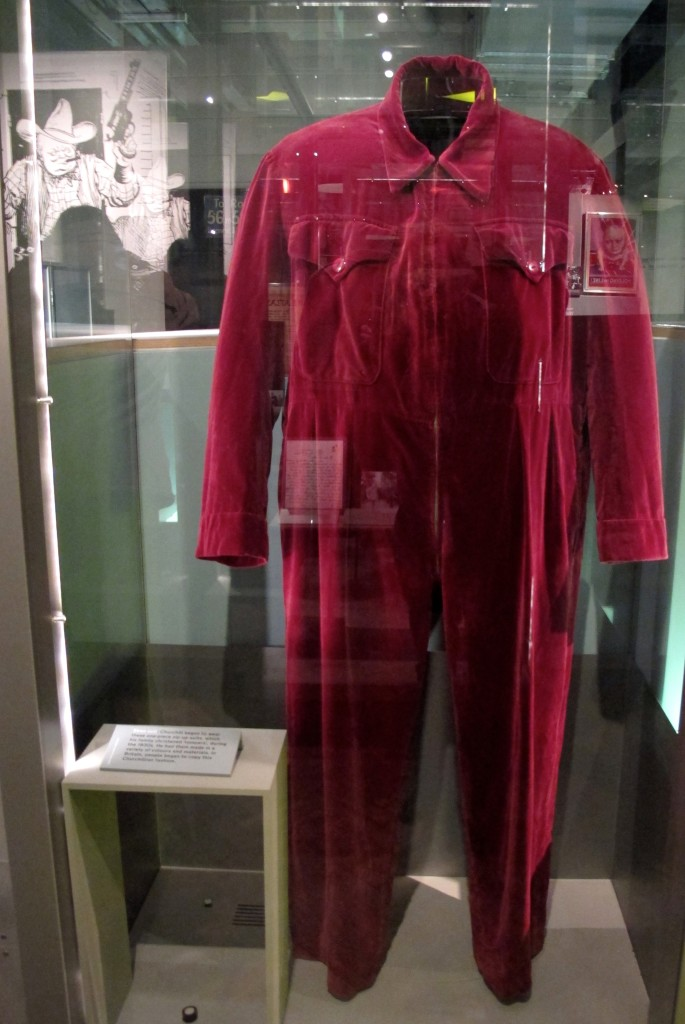 Winston Churchill's onesie, on display at the Churchill War Rooms and Museum in London