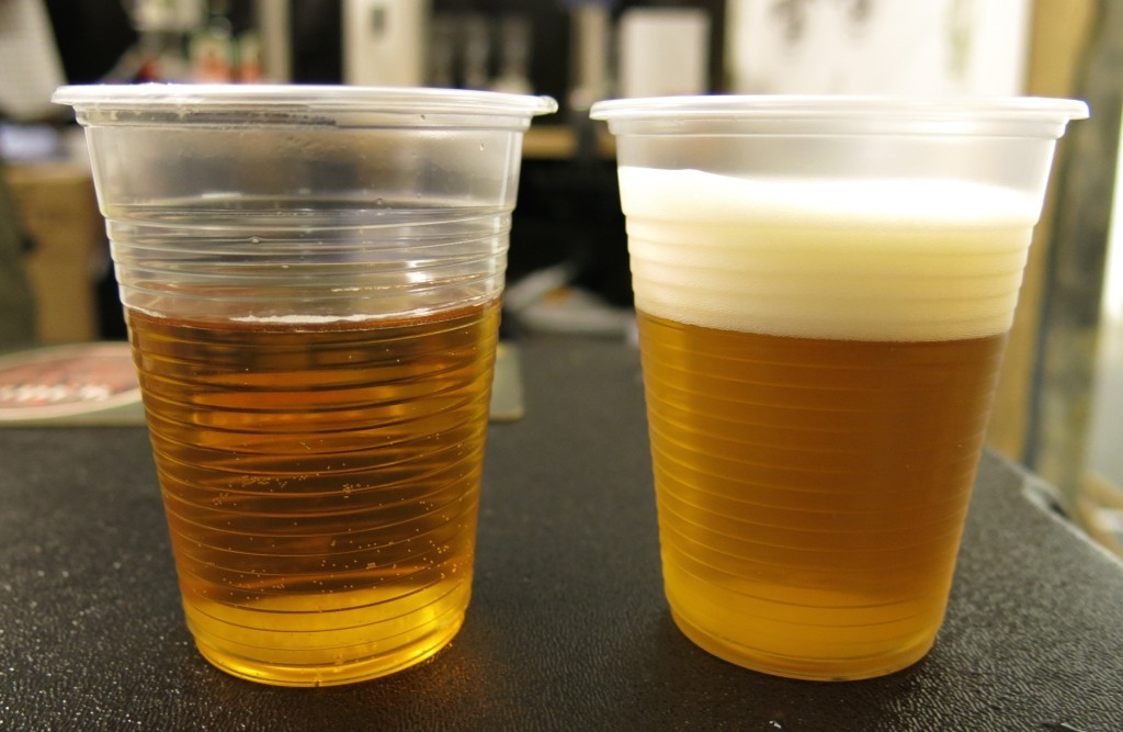 A flat draft beer (left) versus a Carbotek beer (right).