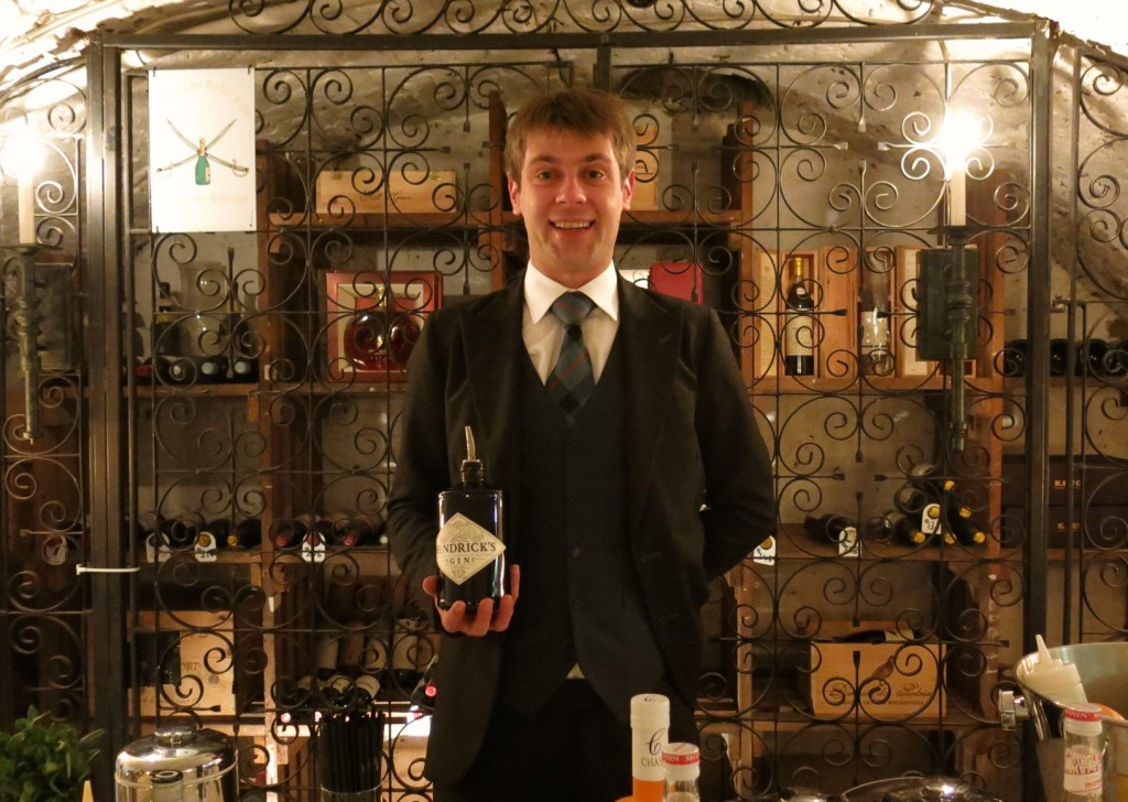 Eric Rychnausky showcases three new cocktails in the wine cellar of The Stafford Hotel.