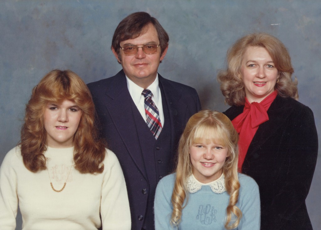 """Before;"" Me as a proper Southern girl in a monogrammed sweater and lace collar, with my family circa (cough, cough)."
