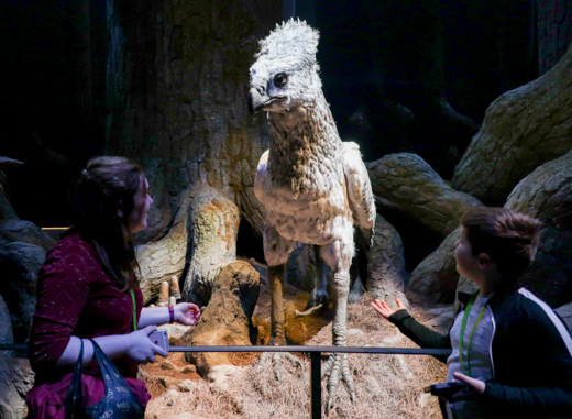 Children share a moment with Buckbeak in the Forbidden Forest. © Amy Laughinghouse