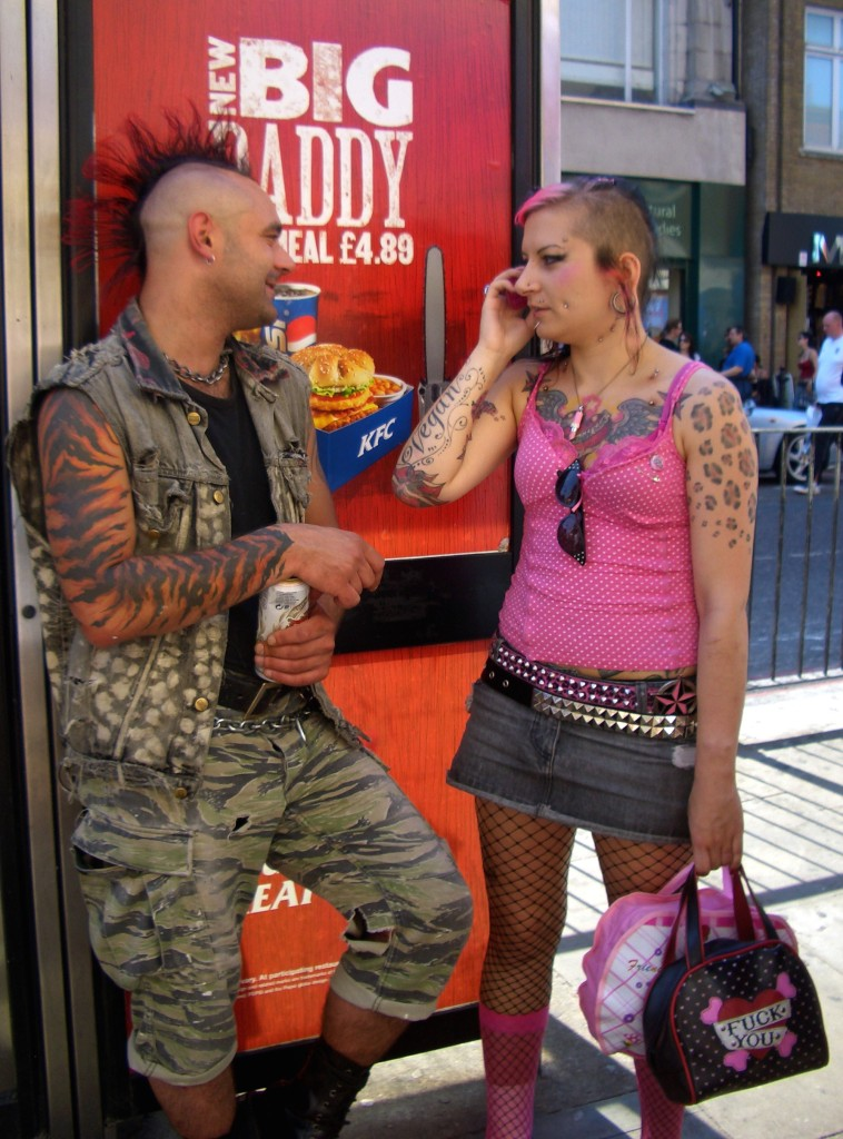 People with tattoos and mohawks in Camden, London