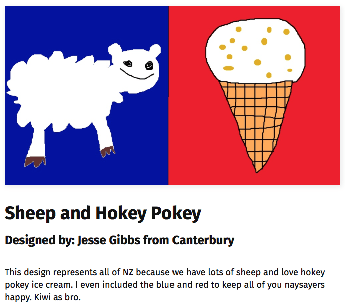 Proposed new New Zealand flag featuring a sheep and a Hokey Pokey ice cream cone.