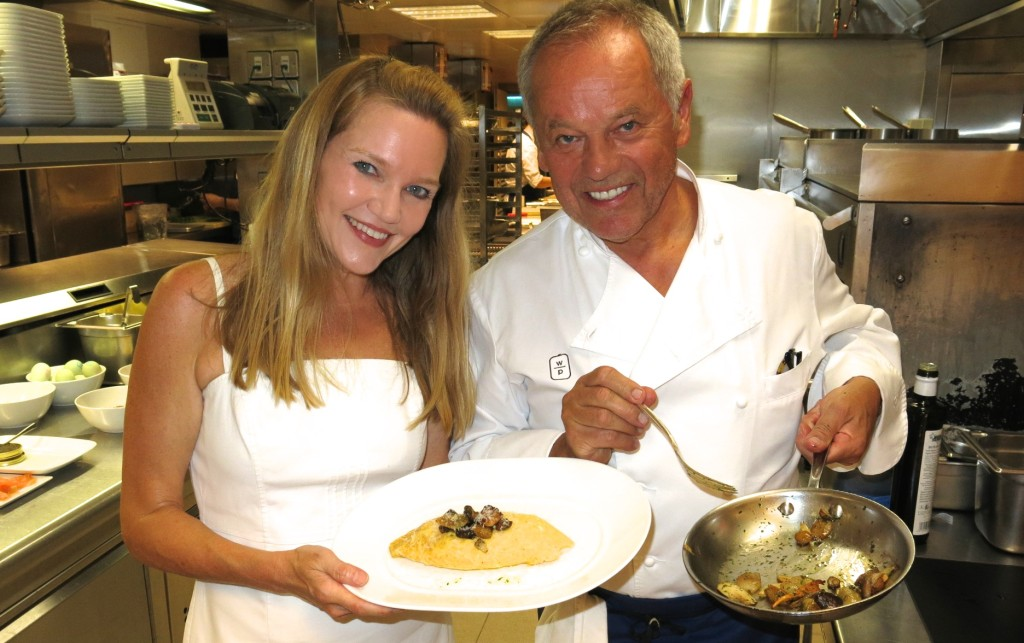 Celebrity Chef Wolfgang Puck in the kitchen at London's 45 Park Lane hotel.