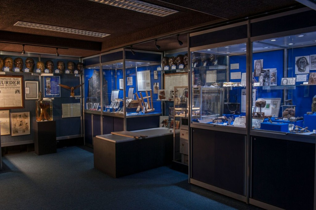 images of display cases from Scotland Yard's Crime Museum