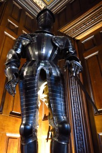 suit of armor in lobby of Ashford Castle