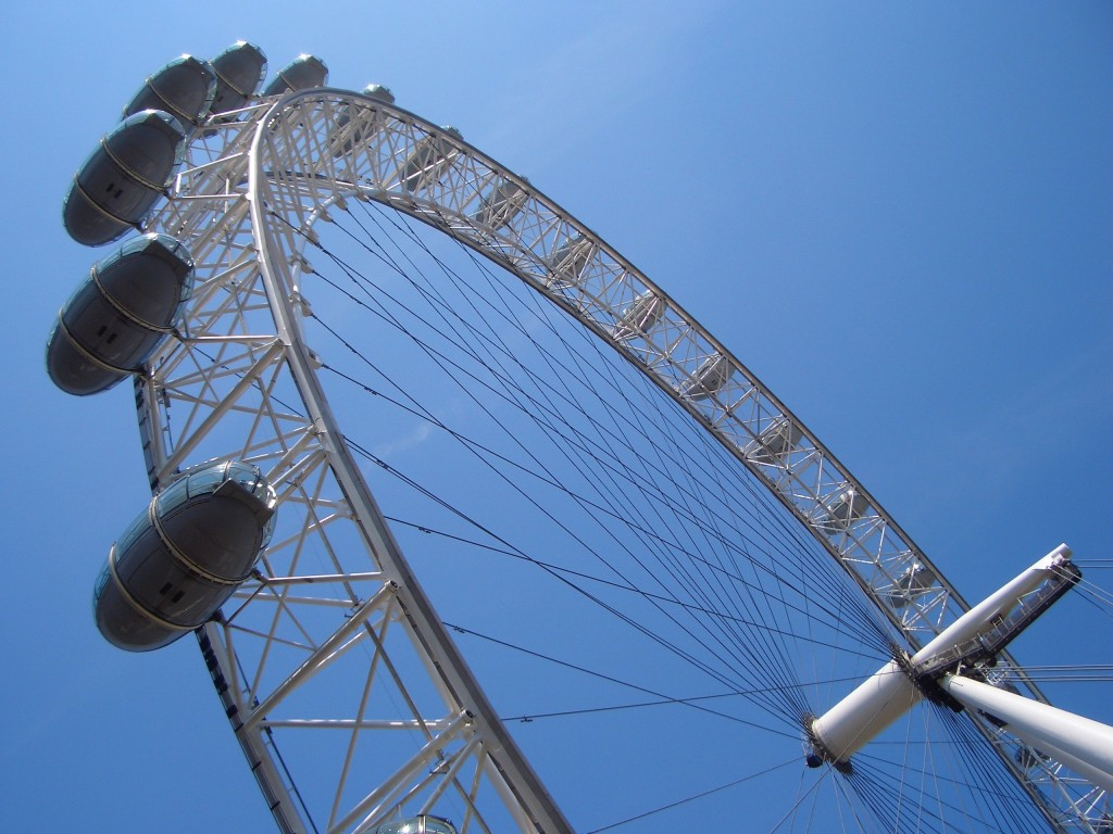 London Eye capsules silhouetted by blue sky