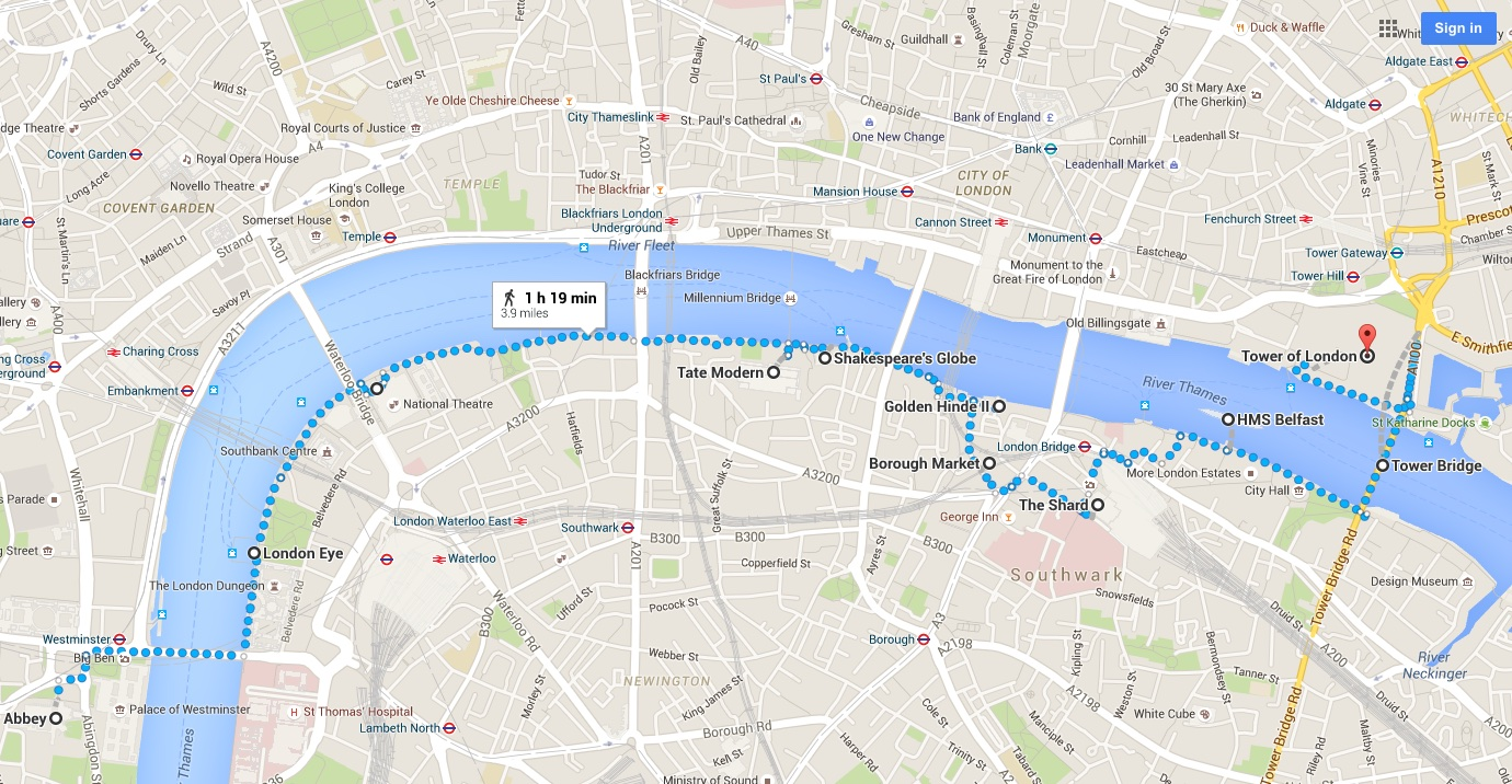 London Thames walk map2 Amy Laughinghouse Hits the Road – Map of London Landmarks