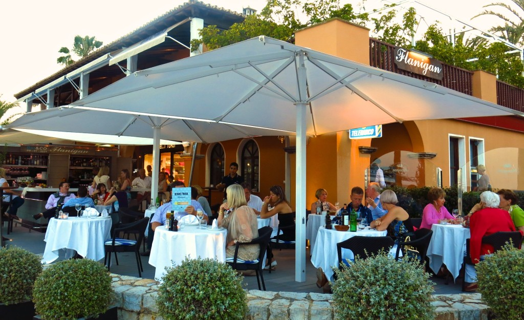people dine on a terrace at Flanagan in Portals Nous, Calvia, Mallorca