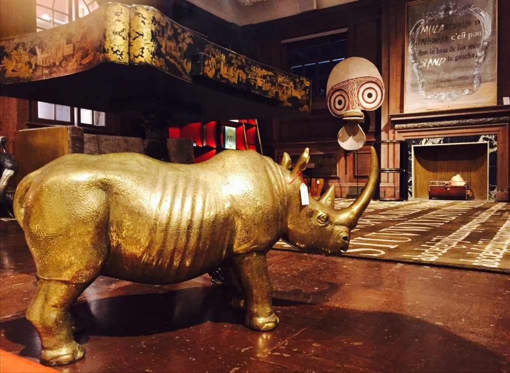 bronze rhino statue and Chinoiserie table at Maison Assouline, 196A Piccadilly, London