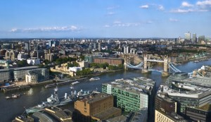 View of the London skyline from TĪNG bar and restaurant at The Shangri-La at The Shard