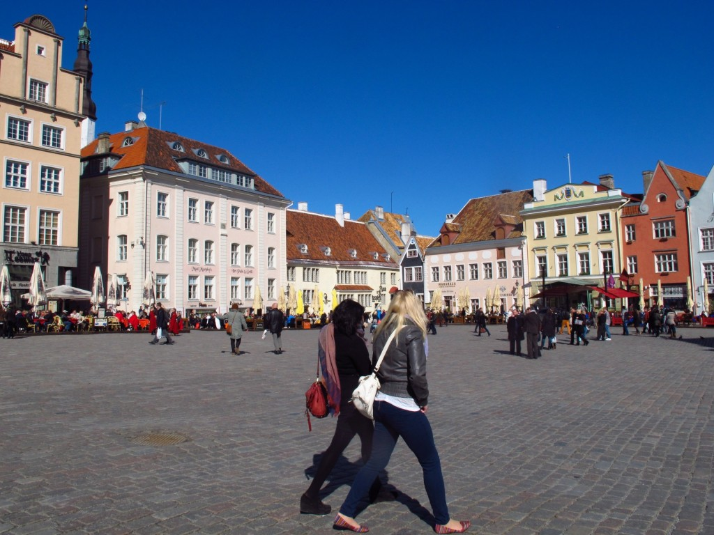 On a sunny afternoon, Tallinn, Estonia's Town Hall Square (Raekoja plats) is a popular gathering spot for tourists and local alike. Copyright Amy Laughinghouse.