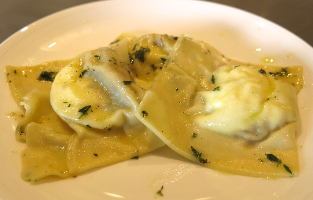 ravioli filled with fresh French goat's cheese and baked butternut squash