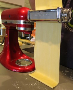 rolling out pasta with Kitchen Aid mixer attachment