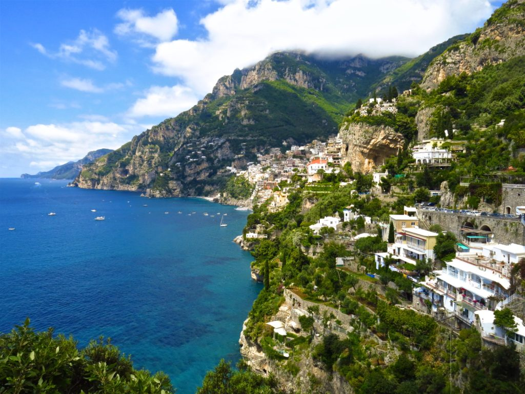 Positano, Italy built into cliffs overlooking the Mediterranean Sea