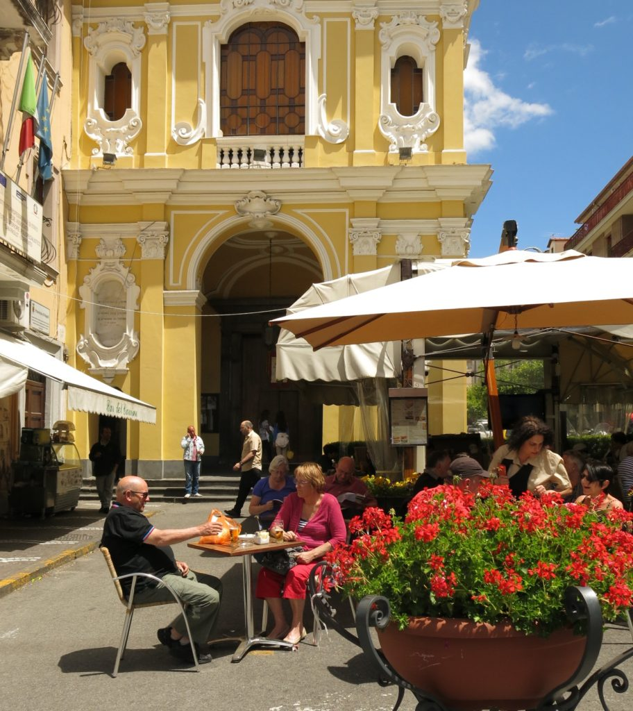 A sunny square in Sorrento, Italy
