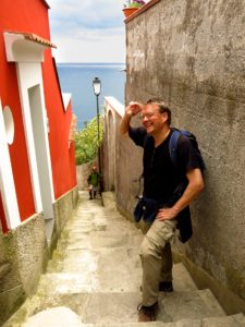 A hiker pauses to catch his breath on the hike to Ravello