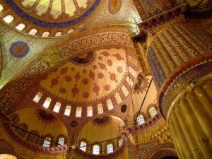 The intricately tiled interior of the Blue Mosque, Istanbul