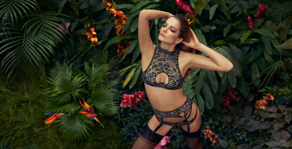 'Tamila' lingerie set from the Agent Provocateur Soirée collection, Spring/Summer 2015. Photographer: Sebastian Faena. Model: Eniko Mihalik