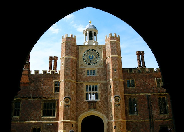 Hampton Court Palace viewed through an archway