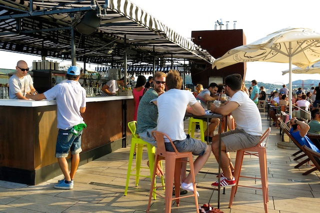 On a summer evening, 360 Bar above Budapest's Andrassy Utca attracts a hip, sun-seeking crowd.