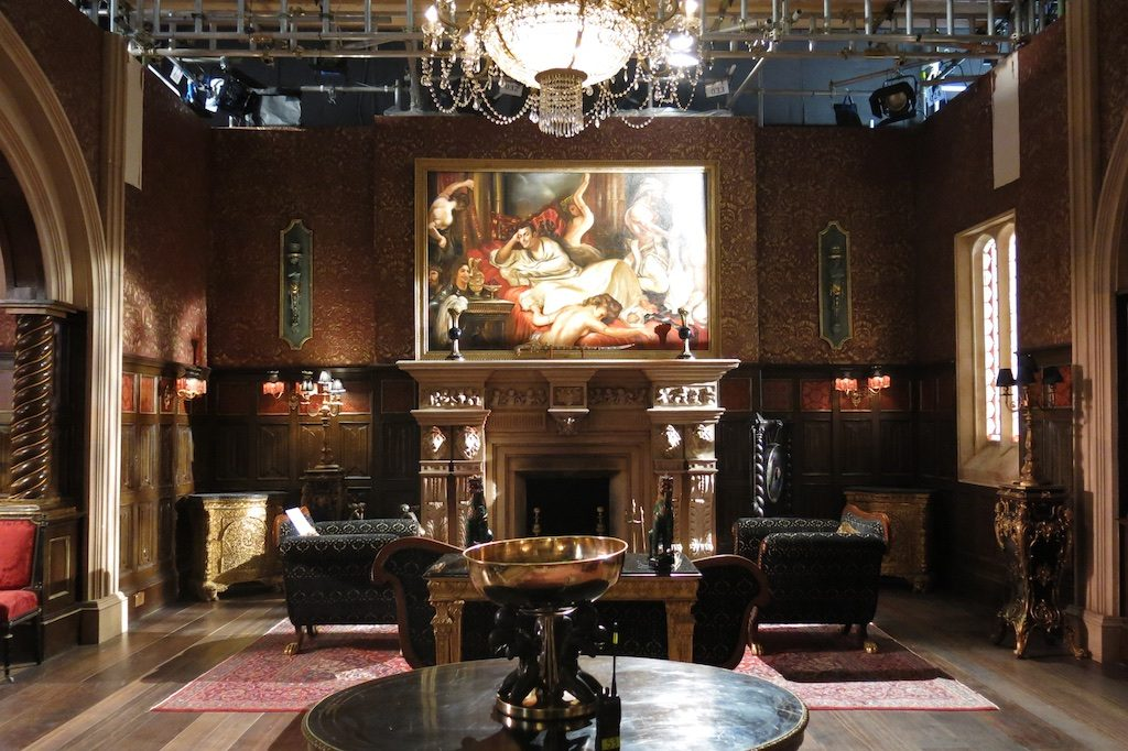 "King Cyrus' boudoir, as OTT as you'd expect. Taken on the London set of ""The Royals"" E! tv series."