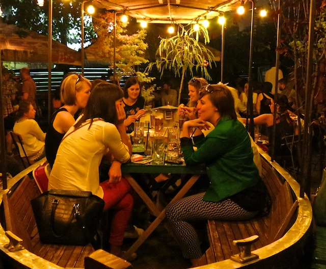 girls in boat at Mika ruin pub in Budapest