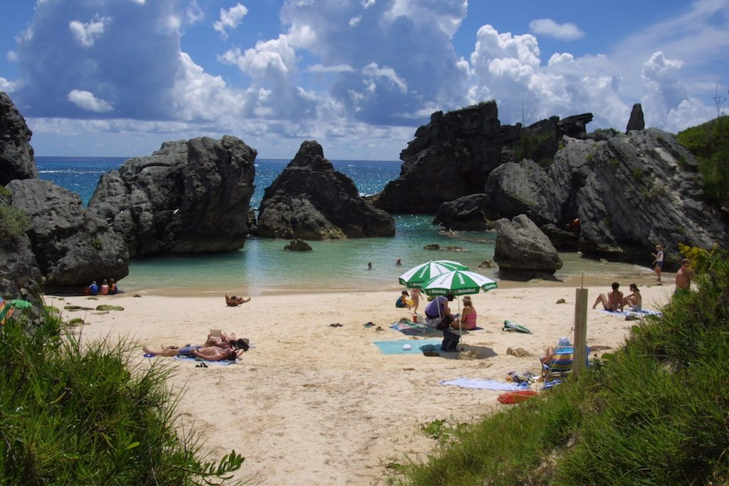 Sunbathers on Bermuda's Horseshoe Bay. Copyright Amy Laughinghouse.
