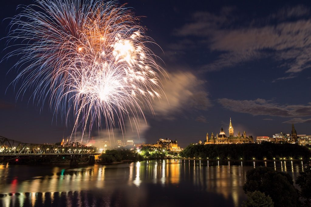 Canada Day fireworks over Ottawa's Parliament Hill. Credit Canadian Tourism Commission