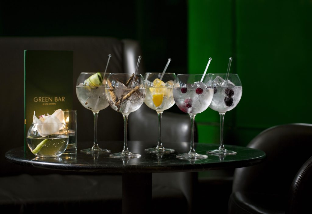 A selection of gin and tonic cocktails at Hotel Cafe Royal's Green Bar. Courtesy Hotel Cafe Royal.