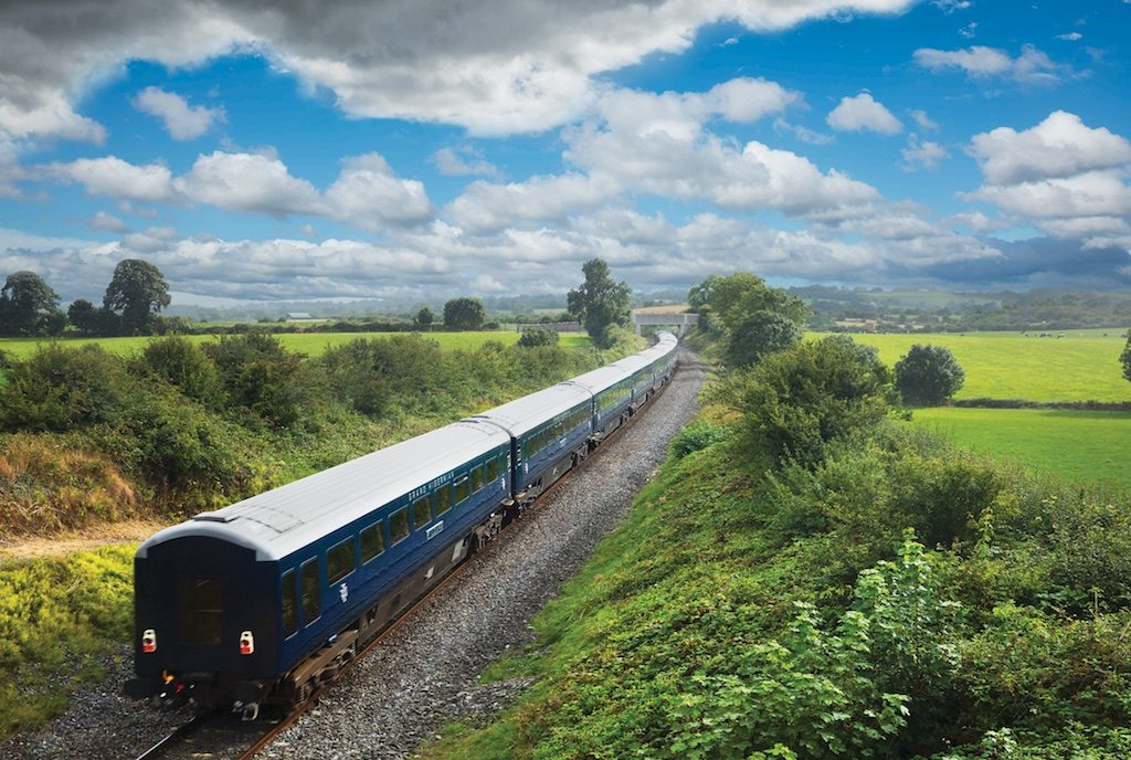 the Belmond Grand Hibernian on the line to Cork south of Buttevant, Co Cork, Ireland