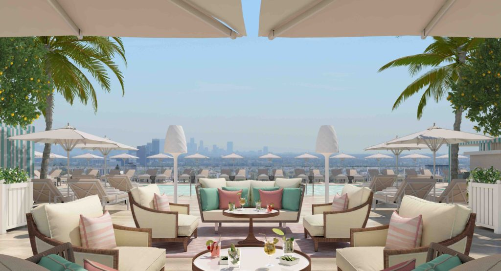Rooftop pool at the Waldorf Astoria Beverly Hills. Courtesy the Waldorf Astoria Beverly Hills.