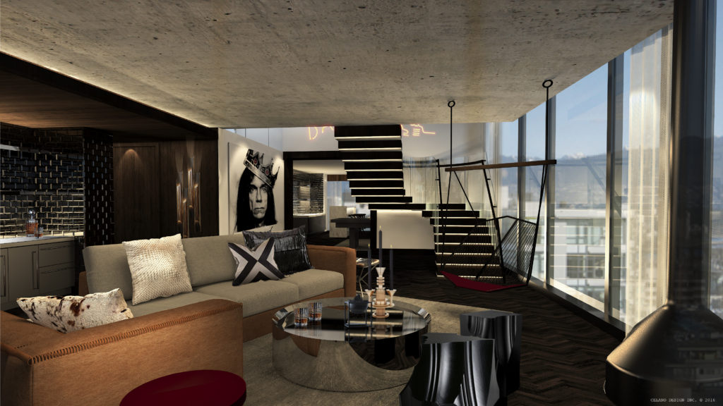 Penthouse Suite Musician's Den at the DOUGLAS, opening in parq Vancouver. Courtesy the DOUGLAS, Autograph Collection Hotels.