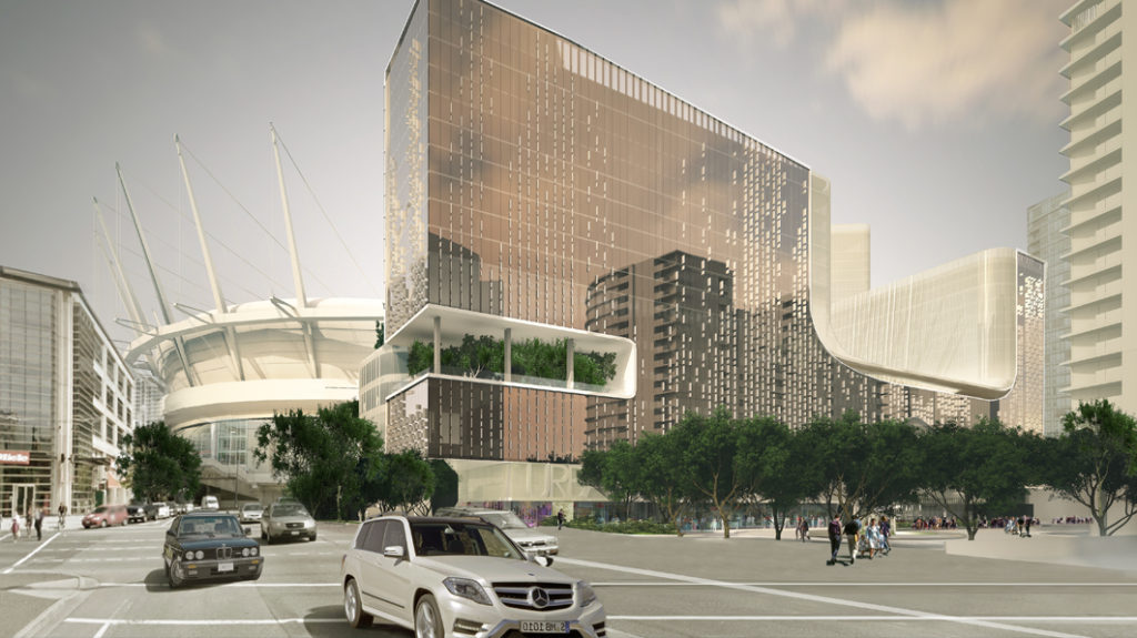 A new entertainment complex, parq Vancouver, will be home to a JW Marriott and the DOUGLAS, an Autograph Collection Hotel. Courtesy Marriott International.