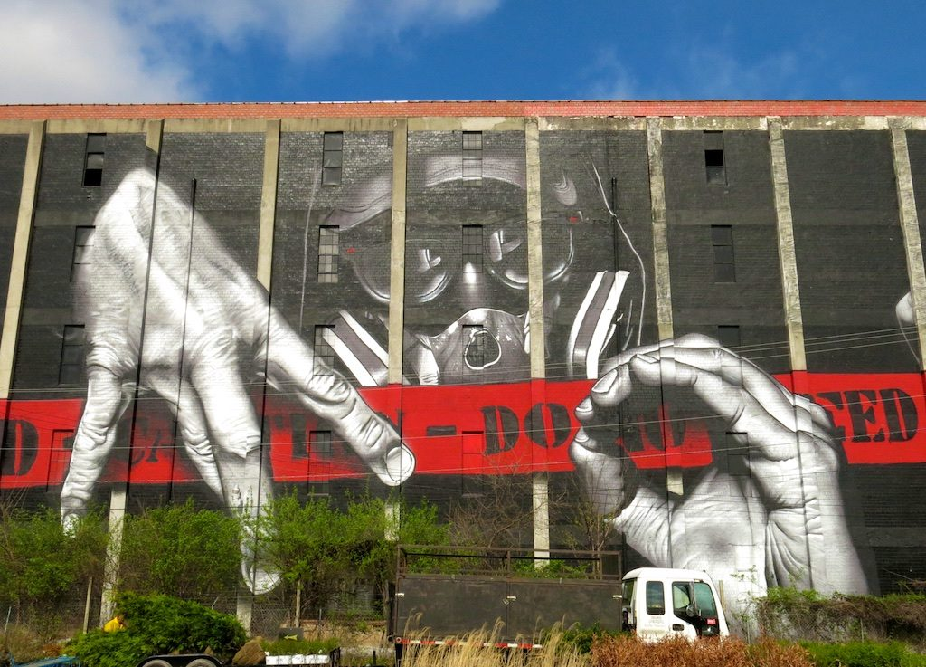 Do not feed this guy, according to street artist MTO. The massive portrait is located at 1200 Manchester Street in Lexington, Kentucky.
