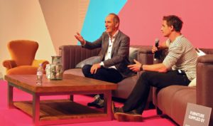 Tom Raffield (right) and Kevin McCloud discuss how Tom and his partner Danielle transformed their cottage with their own bent-wood designs.